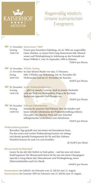 Kulinarischer Kalender des  2. Halbjahres 2012 - Hotel Kaiserhof ...