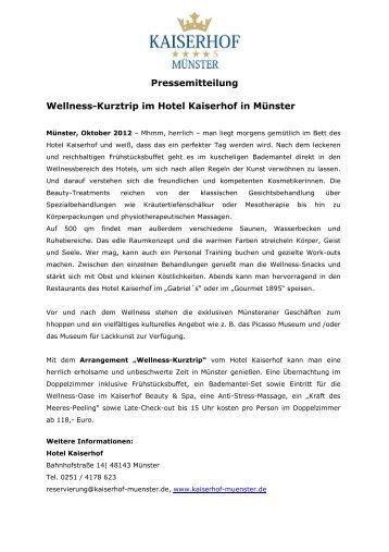 Wellness Kurztrip - Hotel Kaiserhof Münster
