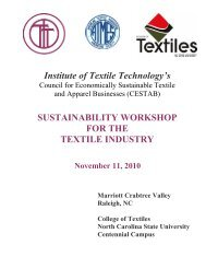 Institute of Textile Technology's SUSTAINABILITY ... - FiberSource