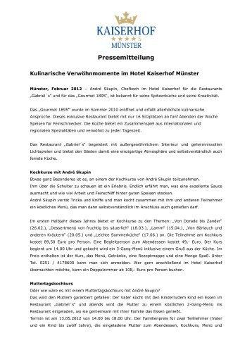 Februar - Kulinarische Verwöhnmomente in Münster - Hotel Kaiserhof