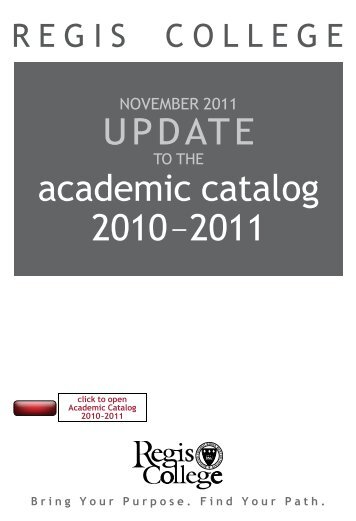 2010-11 Academic Catalog Addendum - Regis College