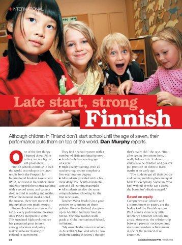 Late Start, strong Finnish - Australian Education Union