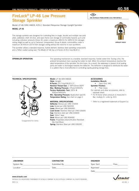 firelock® lp-46 low pressure Storage Sprinkler 40 98 - Victaulic