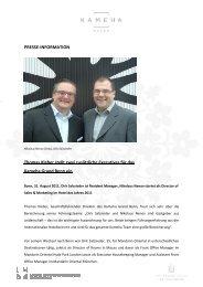 Thomas Kleber stellt zwei zusätzliche Executives - Kameha Grand ...