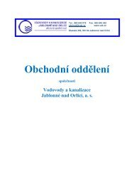 Obchodní oddělení - Vodovody a kanalizace Jablonné nad Orlicí as