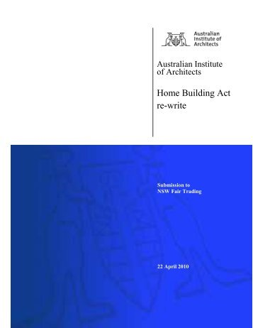 Home Building Act re-write - Australian Institute of Architects