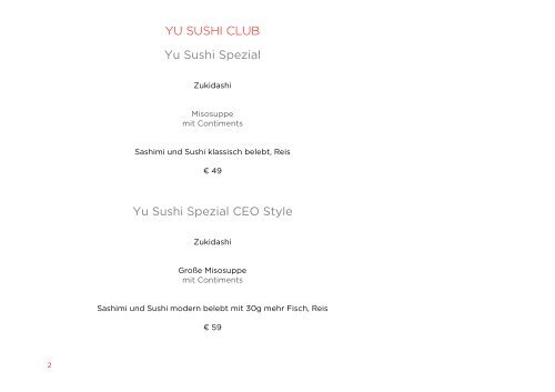 YU SUSHI CLUB Yu Sushi Spezial Yu Sushi Spezial CEO Style
