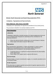 Labiaplasty, Vaginoplasty and Hymenorrhaphy - North Somerset PCT