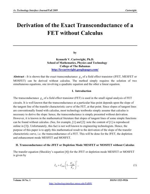 Derivation of the Exact Transconductance of a FET without Calculus
