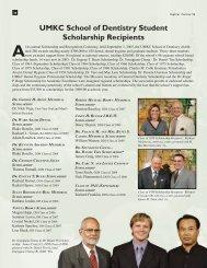 UMKC School of Dentistry Student Scholarship Recipients