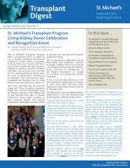 Transplant Digest - Spring 2012, issue 12 - St. Michael's Hospital