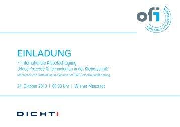 Einladung & Programm 76. OFI Klebefachtagung - beim TFZ Wiener ...