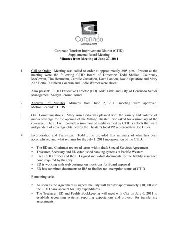 6/27/11: CTID Meeting Minutes - Coronado Tourism Improvement ...