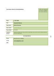 Curriculum Vitae for Faculty Members Correspondence sirricam ...