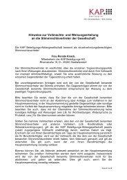 VOLLMACHTS- u. WEISUNGSERTEILUNG (Hinweise)