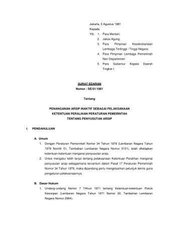 SE/01/1981 tentang Penanganan Arsip Inaktif sebagai Pelaksanaan ...