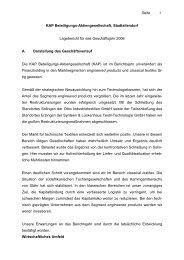 Jahresfinanzberichte 2006 - KAP Beteiligungs AG