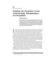 Analyse de l'évolution d'une communauté thérapeutique : la ...