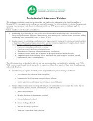 Pre-Application Self-Assessment /Criteria for Admission - American ...