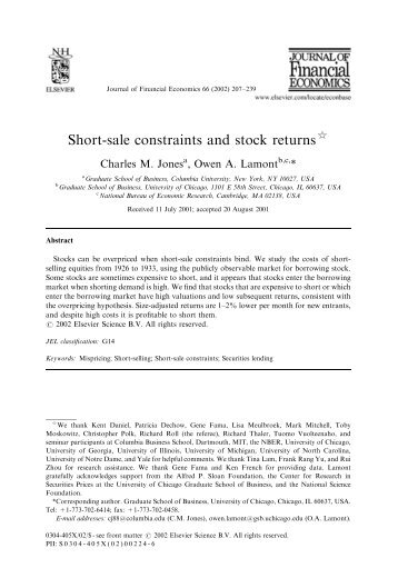Short-sale constraints and stock returns