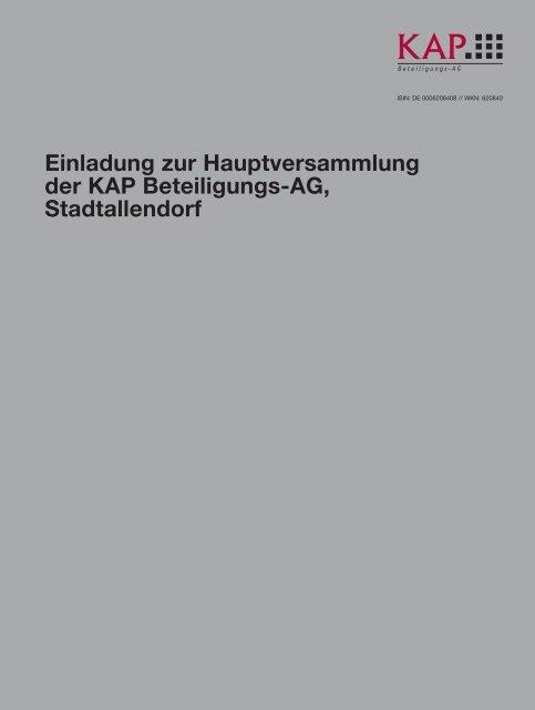 Einladung zur Hauptversammlung der KAP Beteiligungs-AG ...