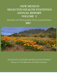 new mexico selected health statistics annual report volume 2 2007