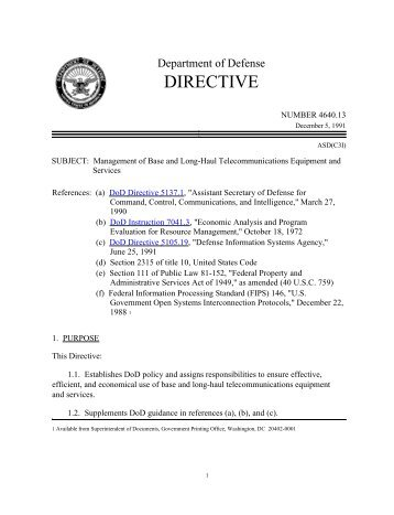 DoD Directive 4640.13 - Chief Information Officer