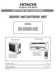 INDOOR UNIT/OUTDOOR UNIT - Hitachi Air Conditioning Products