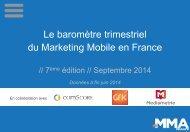 Baromètre Mobile Marketing Association France - 2eme Trimestre 2014