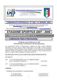 COMUNICATO n.47 del 19/06/2008 - FIGC