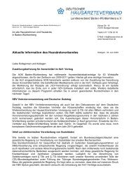Aktuelle Information des Hausärzteverbandes - Deutscher ...