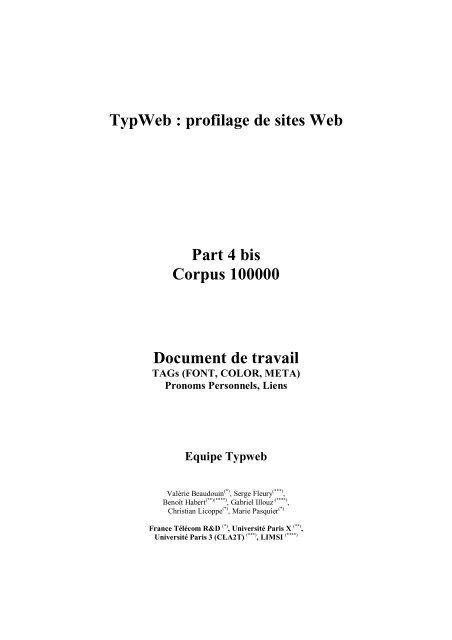 TypWeb : profilage de sites Web Part 4 bis Corpus 100000 ... - Accueil