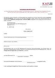 VOLLMACHT und WEISUNGEN HV KAP-AG - KAP Beteiligungs AG