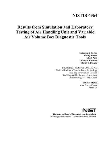 Results from Simulation and Laboratory Testing of Air Handling Unit ...