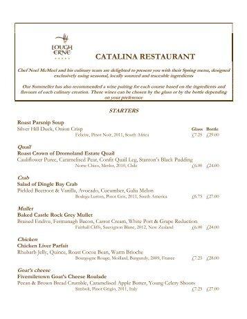 The menu - Lough Erne Resort