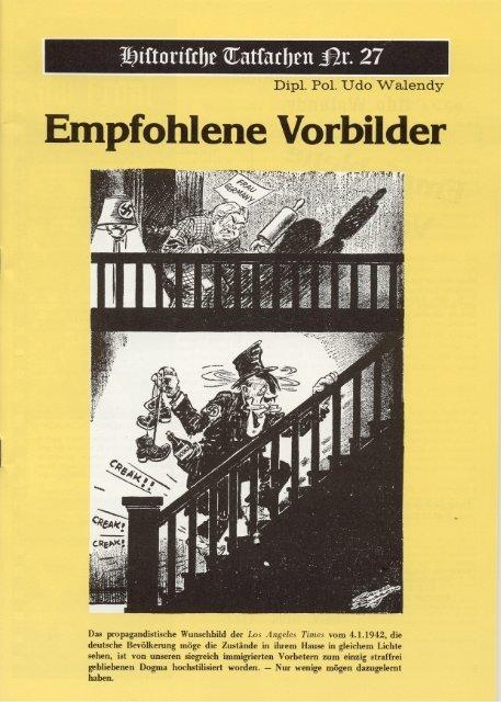 Historische Tatsachen - Nr. 27 - Udo Walendy - Empfohlene Vorbilder