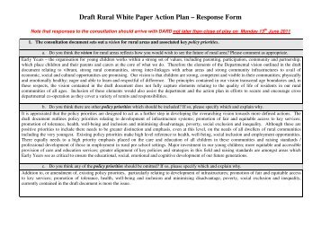 Draft Rural White Paper Action Plan – Response Form - Early Years