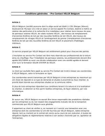 Conditions générales - Pro Contact VELUX Belgium