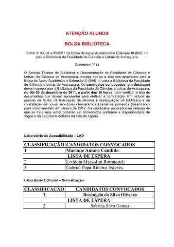 CLASSIFICAÇÃO CANDIDATOS CONVOCADOS 1 ... - Unesp