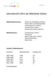 Jahresbericht 2011 der Bibliothek Volken
