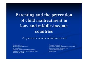 Parenting and the prevention of child maltreatment in low - Sexual ...
