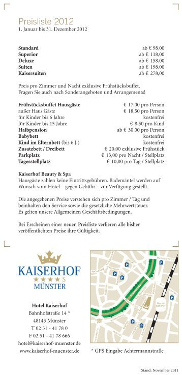 Preisliste 2012.pdf - Hotel Kaiserhof Münster