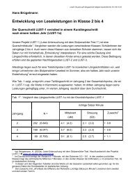 Entwicklung von Leseleistungen in Klasse 2 bis 4 - Universität Siegen