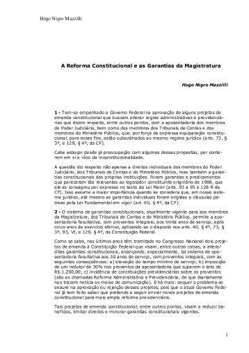 A reforma constitucional e as garantias da Magistratura - Mazzilli