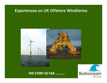 Experiences on UK Offshore Windfarms