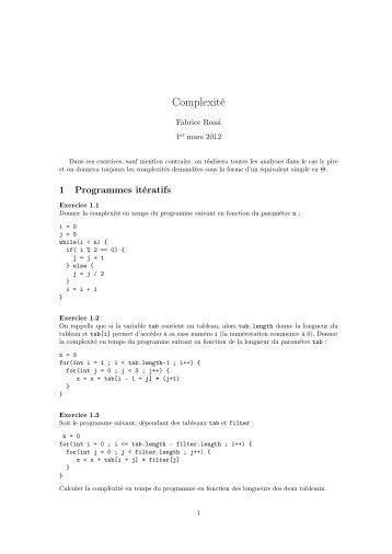 Complexité - Fabrice Rossi