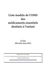Liste modèle de l'OMS des médicaments essentiels ... - ReMeD