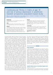 Cardiovascular fitness in males at age 18 and risk of serious ...