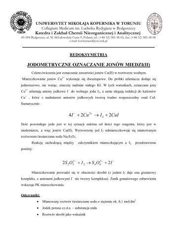 JODOMETRYCZNE OZNACZANIE JONÓW MIEDZI(II) - Katedra i ...