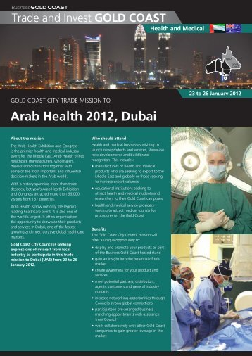 Arab Health 2012, Dubai - Business Gold Coast